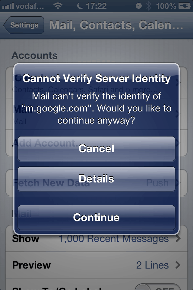 iPhone: Cannot Verify Server Identity
